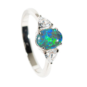 AQUATIC TREASURE STERLING SILVER & TOPAZ AUSTRALIAN OPAL RING