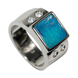 ILLUMINATED WATERWAY STERLING SILVER AUSTRALIAN OPAL MEN'S RING