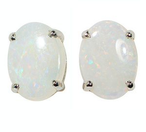 **FLASH SALE** ICE CRYSTALS STERLING SILVER SOLID AUSTRALIAN WHITE OPAL STUD EARRINGS