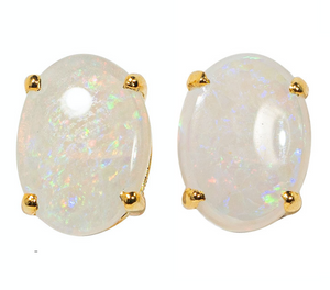 ARCTIC DREAM GOLD PLATED SOLID AUSTRALIAN WHITE OPAL STUD EARRINGS