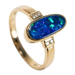 ELECTRIC SEA 14KT YELLOW GOLD & DIAMOND AUSTRALIAN OPAL RING
