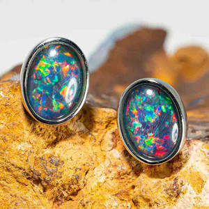 1 SPACE & TIME STERLING SILVER AUSTRALIAN BLACK OPAL STUD EARRINGS