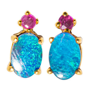 EARTH'S ROYALTY 14KT YELLOW GOLD & TOURMALINE AUSTRALIAN OPAL STUD EARRINGS