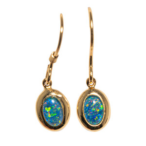 CRYSTAL RIVER 18KT GOLD AUSTRALIAN BLACK OPAL DROP EARRINGS