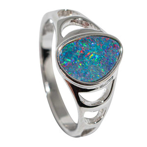 GALAXY FRACTALS STERLING SILVER AUSTRALIAN OPAL RING
