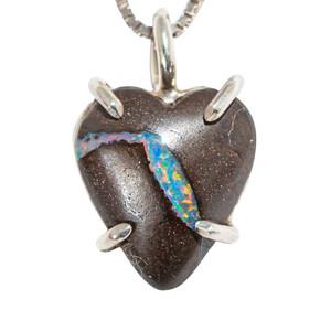 DREAM STREAM STERLING SILVER SOLID AUSTRALIAN OPAL HEART NECKLACE