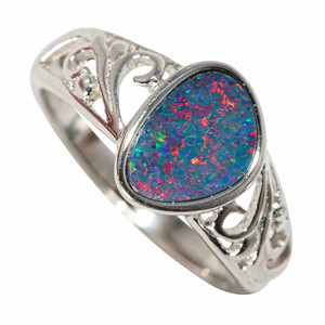 1 ROCK CANDY STERLING SILVER AUSTRALIAN OPAL RING