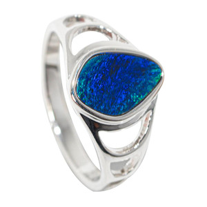DEEP SEA BLOOM STERLING SILVER AUSTRALIAN OPAL RING