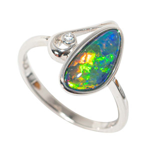 AURORA FLASH STERLING SILVER AUSTRALIAN  OPAL RING
