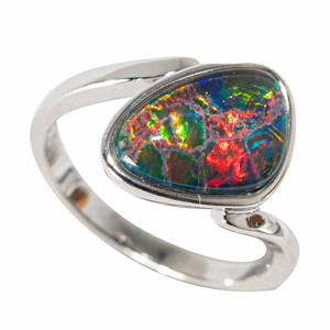 1 SPACE RUPTURE STERLING SILVER AUSTRALIAN BLACK OPAL RING