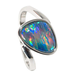 DREAM OF COLOR STERLING SILVER AUSTRALIAN  OPAL RING