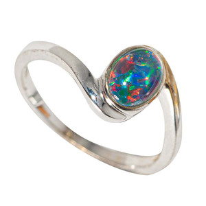 AROUND THE GLOW STERLING SILVER AUSTRALIAN  OPAL RING