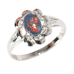 FLAMING FLOWER STERLING SILVER AUSTRALIAN  OPAL RING