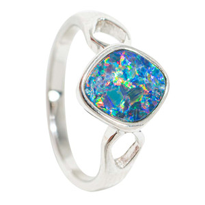FRACTURED CRYSTAL STERLING SILVER AUSTRALIAN OPAL RING