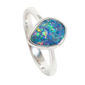 CRYSTALIZED RAINDROP STERLING SILVER AUSTRALIAN OPAL RING