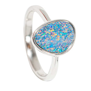 CRYSTALLIZED ELEMENTS STERLING SILVER AUSTRALIAN OPAL RING