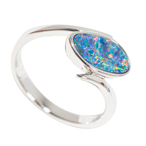 3-2-1 BLAST OFF STERLING SILVER AUSTRALIAN OPAL RING