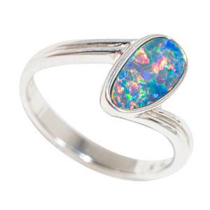 CASCADING COLORS STERLING SILVER AUSTRALIAN OPAL RING