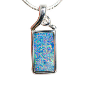 BLISSFUL BLING STERLING SILVER AUSTRALIAN OPAL NECKLACE