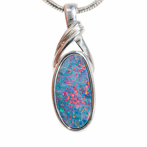 ADHARA STERLING SILVER AUSTRALIAN OPAL NECKLACE