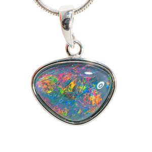 BRIGHT BLOOM STERLING SILVER AUSTRALIAN BLACK OPAL NECKLACE