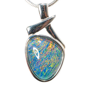 BRILLIANT MEADOW STERLING SILVER AUSTRALIAN BLACK OPAL NECKLACE