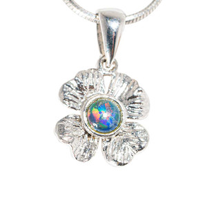BLOSSOMING ANEMONE STERLING SILVER AUSTRALIAN BLACK OPAL NECKLACE
