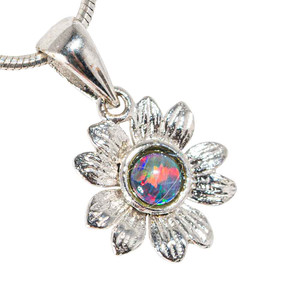 BLOSSOMING ZINNIA STERLING SILVER AUSTRALIAN BLACK OPAL NECKLACE