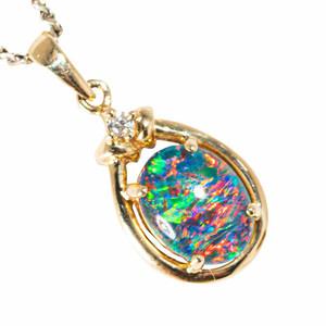 FIJI BLOOM 14KT YELLOW GOLD & DIAMOND AUSTRALIAN BLACK OPAL NECKLACE