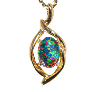 ABSTRACT LOVE 14KT YELLOW GOLD & DIAMOND AUSTRALIAN BLACK OPAL NECKLACE