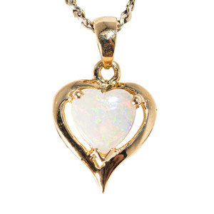 *SNOW IN LOVE 14KT YELLOW GOLD AUSTRALIAN WHITE OPAL NECKLACE