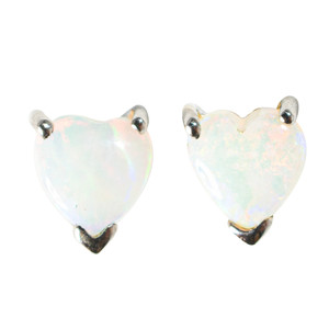 GARDEN OF EDEN 14KT WHITE GOLD AUSTRALIAN WHITE OPAL STUD EARRINGS
