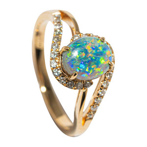 GARDEN OF EDEN 14KT YELLOW GOLD & DIAMOND AUSTRALIAN OPAL RING