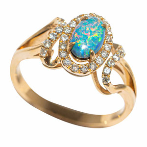 1 THE GREAT BEYOND 14KT YELLOW GOLD & DIAMOND AUSTRALIAN OPAL RING