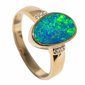POND OF WONDER 14KT YELLOW GOLD & DIAMOND AUSTRALIAN OPAL RING
