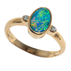 COSMIC SEA 14KT YELLOW GOLD & DIAMOND AUSTRALIAN OPAL RING