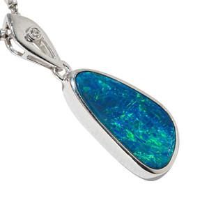BENEATH THE BLUE 14KT WHITE GOLD & DIAMOND AUSTRALIAN OPAL NECKLACE