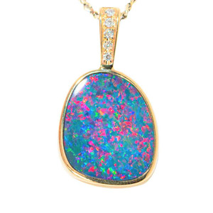 BALL OF FIRE 14KT YELLOW GOLD & DIAMOND AUSTRALIAN OPAL NECKLACE