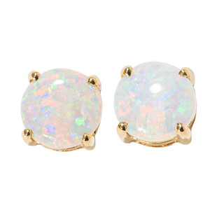 **FLASH SALE**GOLDEN CREAMSICLE 14KT YELLOW GOLD NATURAL AUSTRALIAN WHITE OPAL STUD EARRINGS