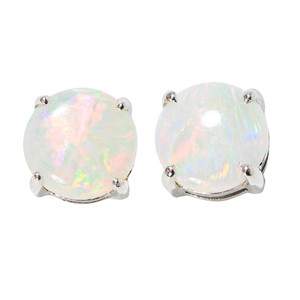 CLASSIC TALE 14KT WHITE GOLD NATURAL AUSTRALIAN WHITE OPAL STUD EARRINGS