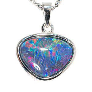 COSMIC ILLUSIONS STERLING SILVER AUSTRALIAN BLACK OPAL NECKLACE