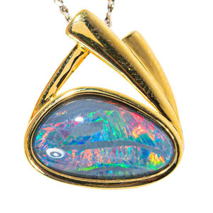 CALLIOPE'S TREASURE 18KT YELLOW GOLD PLATED AUSTRALIAN BLACK OPAL NECKLACE