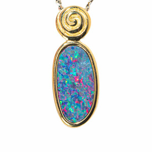 COSMIC ROLL-UP 18KT YELLOW GOLD PLATED AUSTRALIAN OPAL NECKLACE