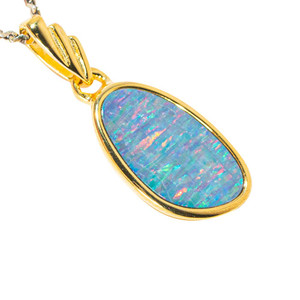COSMIC KISS 18KT YELLOW GOLD PLATED AUSTRALIAN OPAL NECKLACE