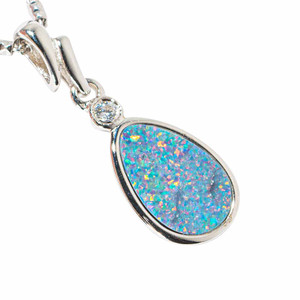 COSMIC RAINDROP STERLING SILVER AUSTRALIAN OPAL NECKLACE