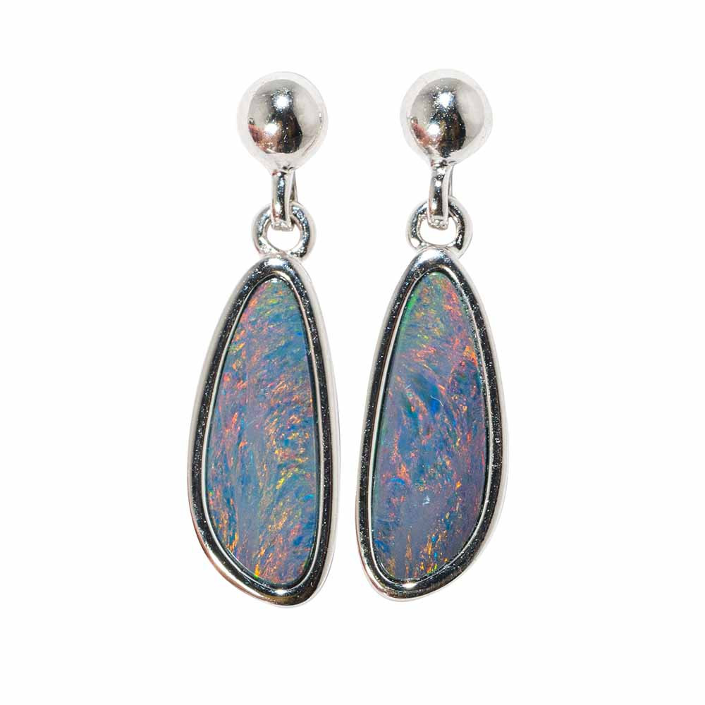 White Opal Earrings Australian Opal Earrings Silver Opal Earrings Multicoloured Gemstone Earrings Opal Drop Earrings Sterling Silver
