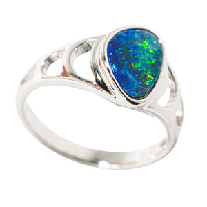 ELECTRIC SUBMARINE JOURNEY STERLING SILVER AUSTRALIAN OPAL RING
