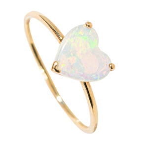 DEEP DESIRE 14KT YELLOW GOLD AUSTRALIAN WHITE OPAL RING