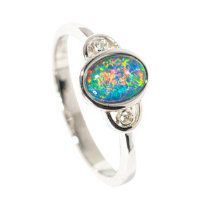 ARES' RADIANCE STERLING SILVER AUSTRALIAN BLACK OPAL RING