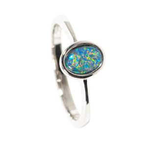 APHRODITE'S BLOSSOMS STERLING SILVER AUSTRALIAN  OPAL RING